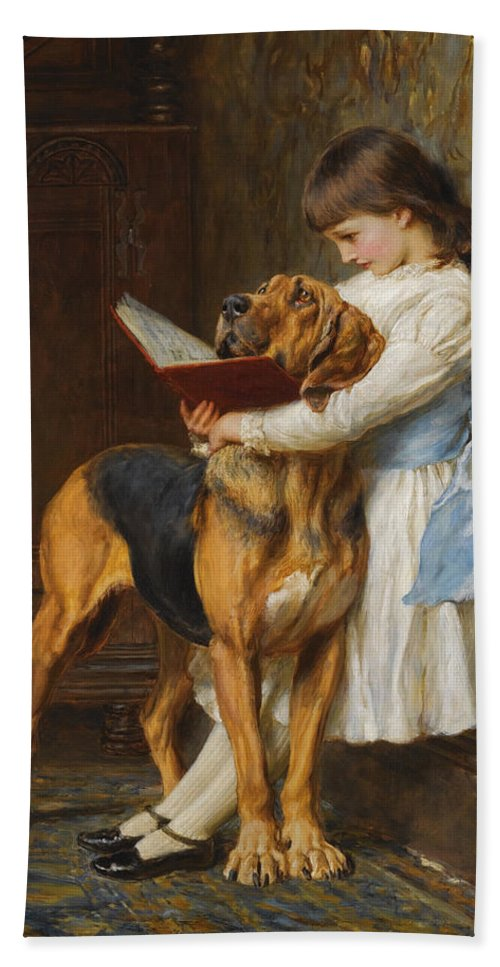 Briton Riviere Hand Towel featuring the painting Compulsory Education by Briton Riviere