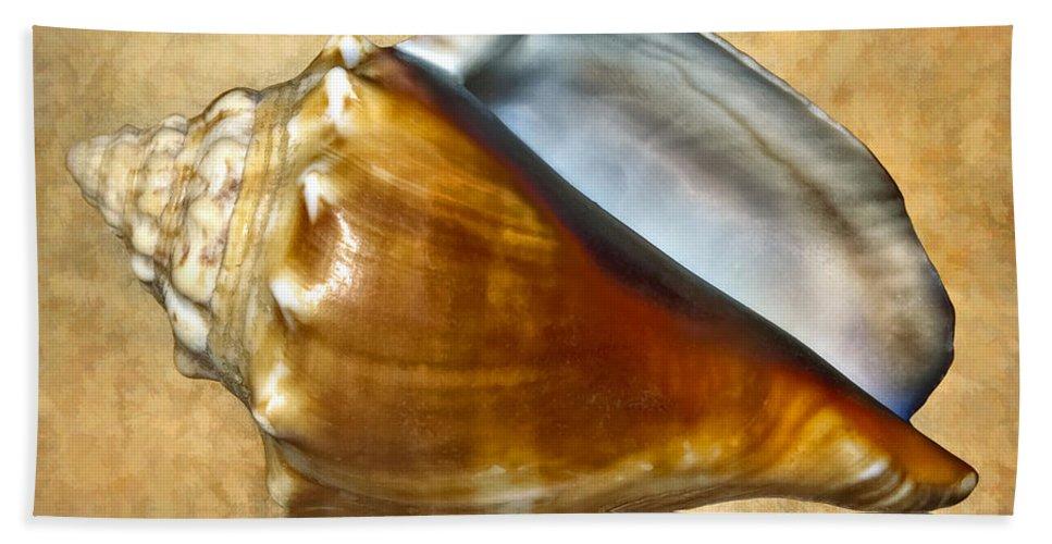 Seashell. Macro Bath Sheet featuring the photograph Conch 2 by Steve Harrington