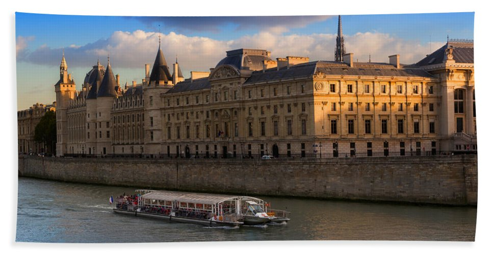 Conciergerie Hand Towel featuring the photograph Conciergerie And The Seine River Paris by Louise Heusinkveld