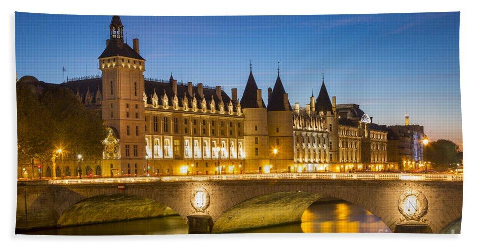 Antoinette Bath Sheet featuring the photograph Conciergerie Twilight - River Seine by Brian Jannsen