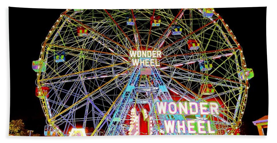 Coney Island Hand Towel featuring the photograph Coney Island's Famous Amusement Park And Wonder Wheel by Kendall Eutemey