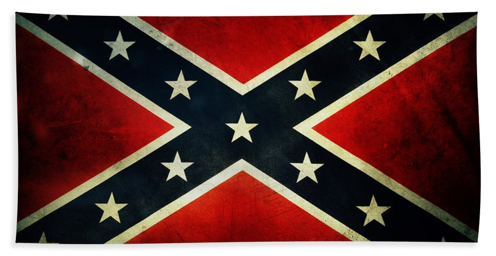 Flag Hand Towel featuring the photograph Confederate Flag 4 by Les Cunliffe
