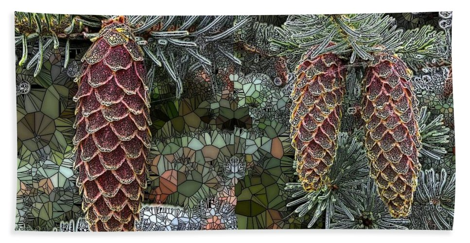 Collage Bath Sheet featuring the digital art Conifer Cones by Ron Bissett