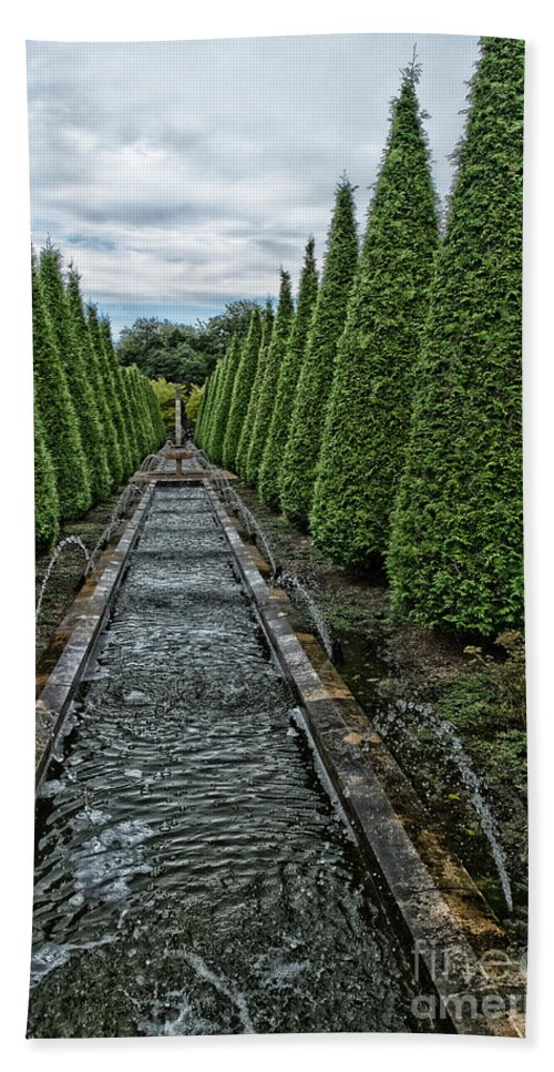 Conifer Water Feature Bath Towel featuring the photograph Conifer Lined Water Feature by Brothers Beerens