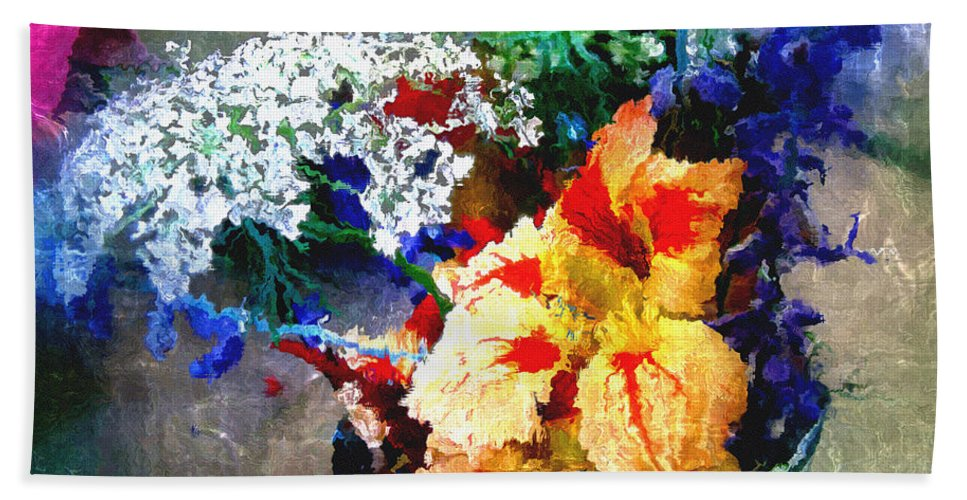 Delphinium Hand Towel featuring the digital art Conjuring Claude Monet by RC DeWinter