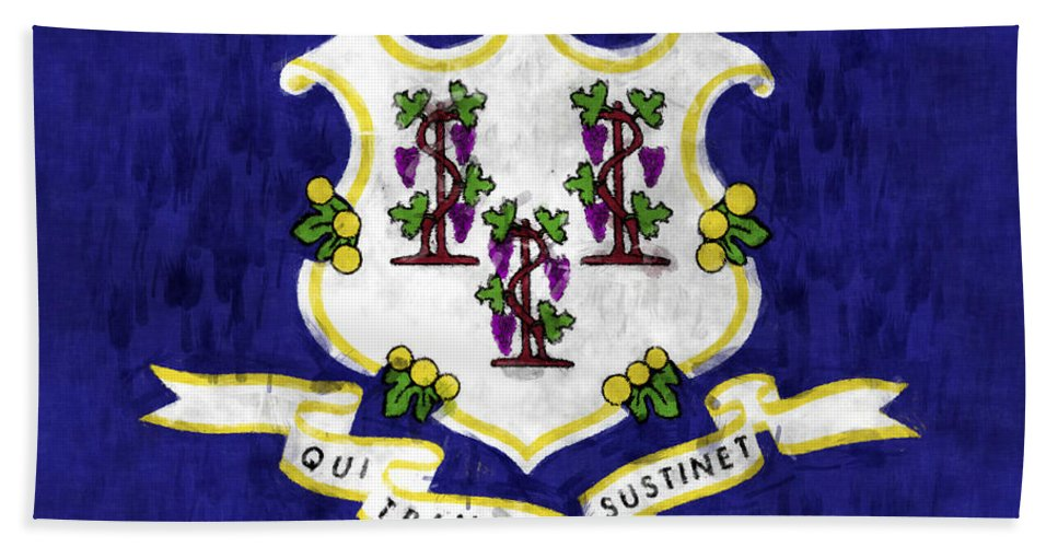 Connecticut Hand Towel featuring the digital art Connecticut Flag by World Art Prints And Designs