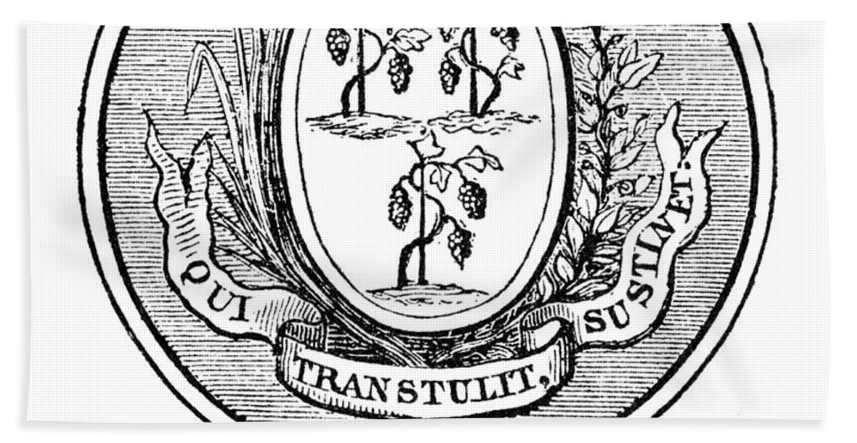 18th Century Hand Towel featuring the photograph Connecticut State Seal by Granger