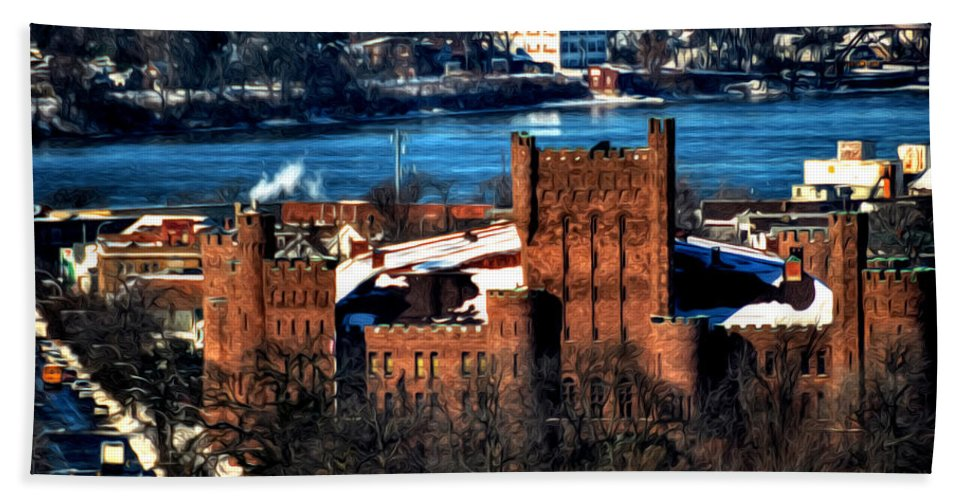 Winter Hand Towel featuring the photograph Connecticut Street Armory Winter 2013 by Michael Frank Jr