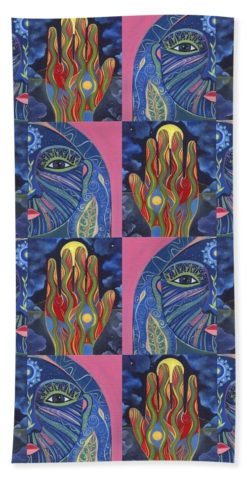 Flow Hand Towel featuring the painting Constant Flow 1 by Helena Tiainen