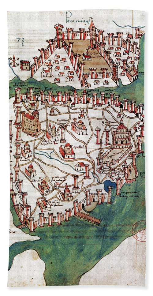 1420 Hand Towel featuring the photograph Constantinople, 1420 by Granger