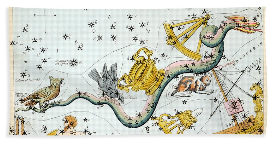 1825 Hand Towel featuring the photograph Constellation: Hydra by Granger
