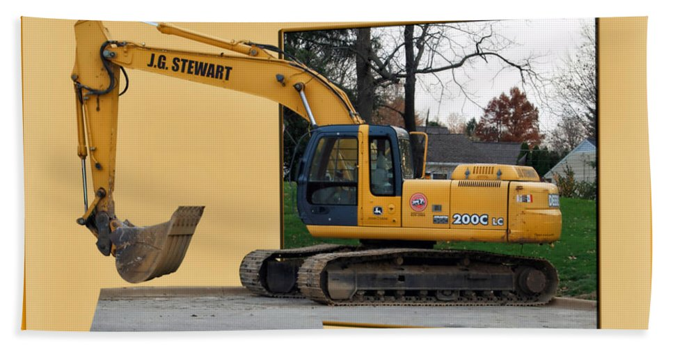 Yellow Bath Sheet featuring the photograph Construction Equipment 01 by Thomas Woolworth