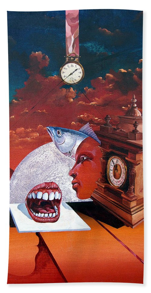 Otto+rapp Surrealism Surreal Fantasy Time Clocks Watch Consumption Bath Sheet featuring the painting Consumption Of Time by Otto Rapp
