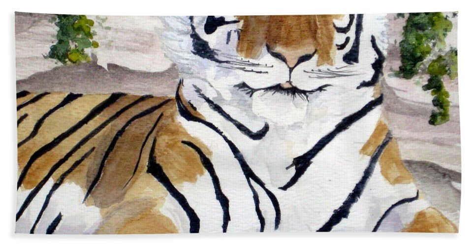 Tiger Bath Sheet featuring the painting Contemplating Dinner by Julia RIETZ