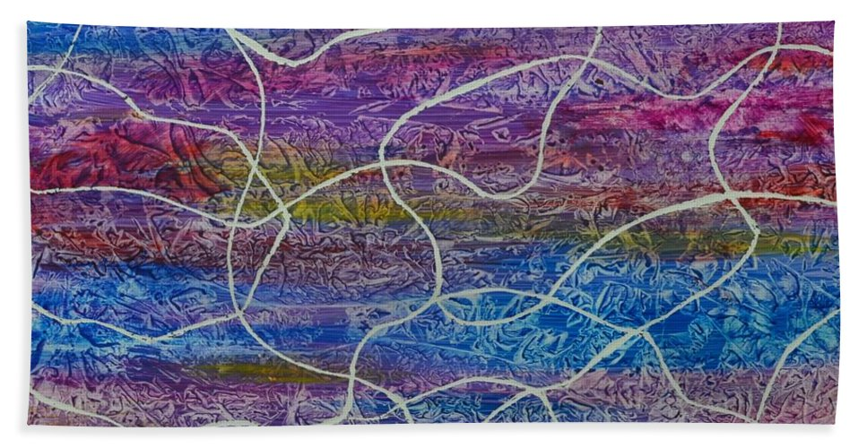 Abstract Bath Towel featuring the painting ContemporaryAbstract -Entangled by Manjiri Kanvinde