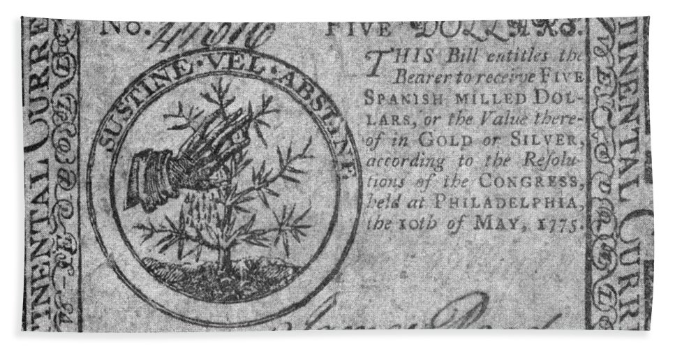 1775 Hand Towel featuring the photograph Continental Currency, 1775 by Granger