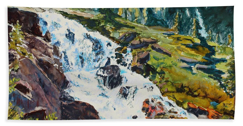 Continental Falls Hand Towel featuring the painting Continental Falls by Mary Benke