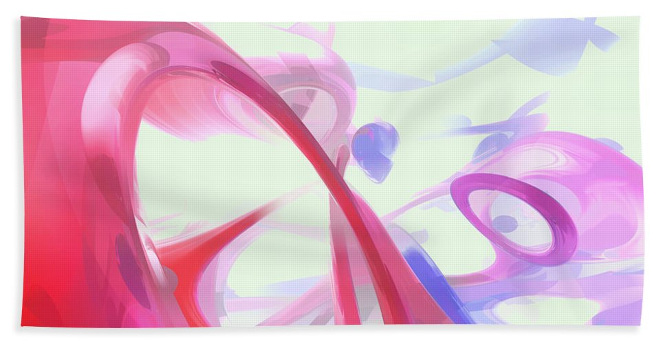 3d Hand Towel featuring the digital art Contortion Pastel Abstract by Alexander Butler