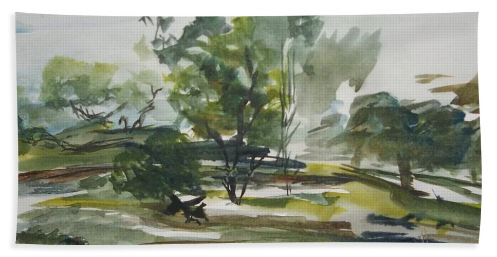 Plein Aire Watercolor Of Convergence Of Stanislaus And Merced Rivers Hand Towel featuring the painting Convergence by Charlotte Williams