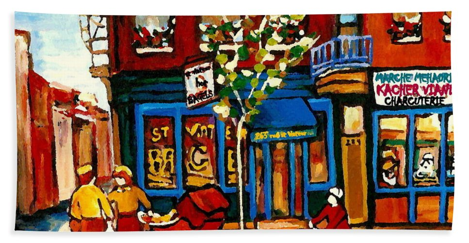 Montreal Hand Towel featuring the painting Conversation At St Viateur Bagel Paintings Mehadrin Kosher Deli Authentic Vintage Montreal Cspandau by Carole Spandau
