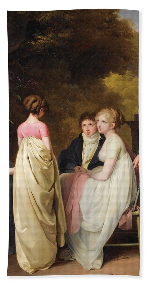 Louis Leopold Boilly Bath Sheet featuring the painting Conversation In A Park by Louis Leopold Boilly