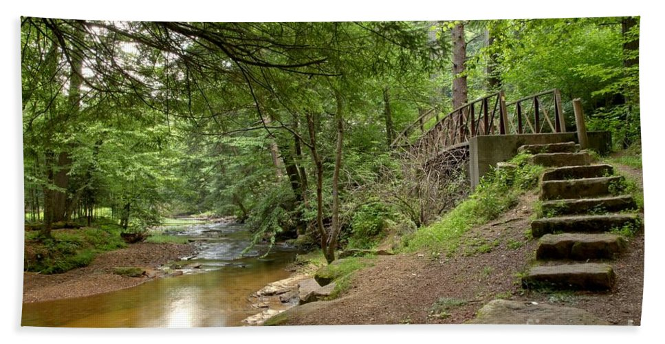 Toms Run Hand Towel featuring the photograph Cook Forest Toms Run Steps by Adam Jewell