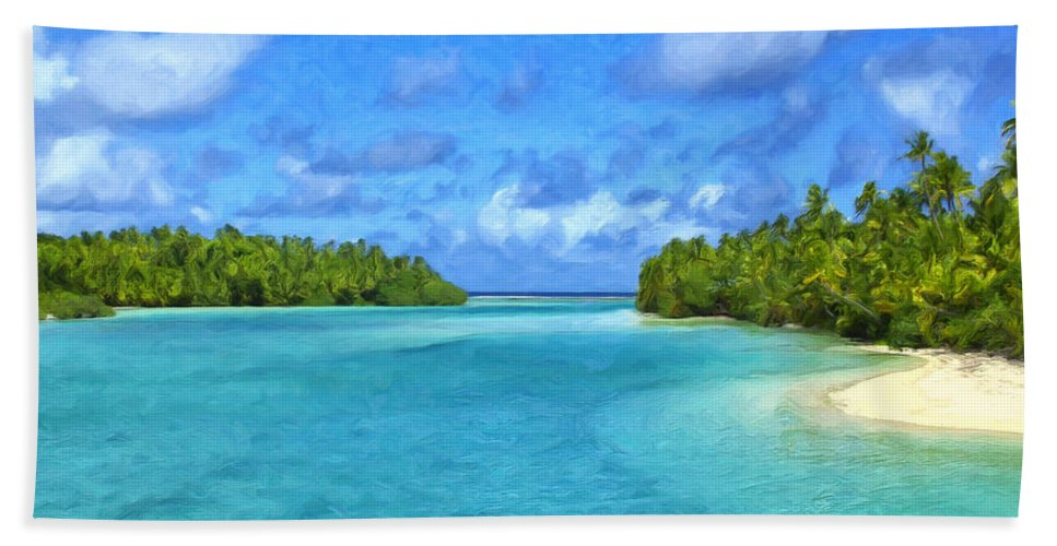 Cook Islands Hand Towel featuring the painting Cook Islands Lagoon by Dominic Piperata