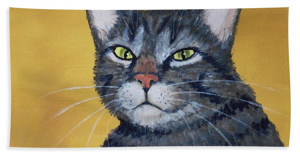 Malakhova Hand Towel featuring the painting Cool Cat by Anastasiya Malakhova