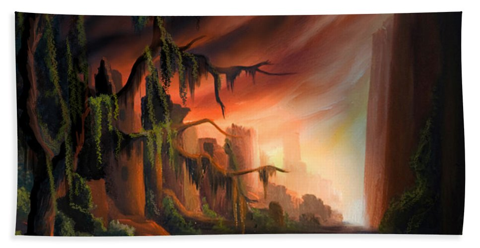 Sunrise Bath Sheet featuring the painting Cooridor of Light by James Christopher Hill