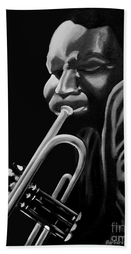 Cootie Williams Hand Towel featuring the painting Cootie Williams by Barbara McMahon