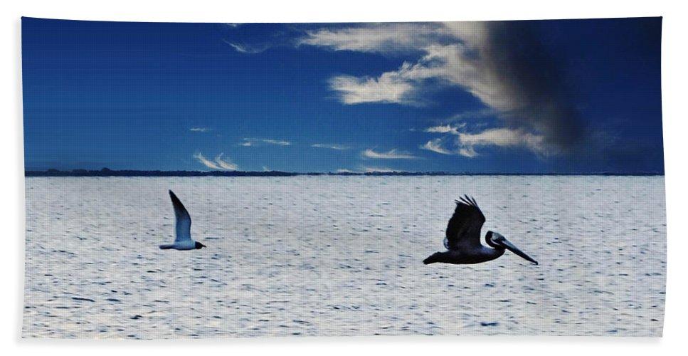 Texas Hand Towel featuring the digital art Copano Bay Sunset Flight by Lizi Beard-Ward