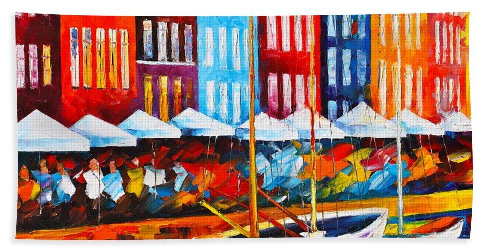 Afremov Bath Sheet featuring the painting Copenhagen Denmark 2 by Leonid Afremov
