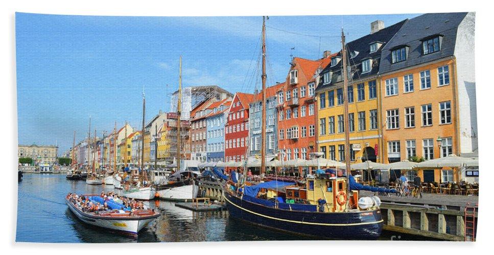 Mode Of Transport Hand Towel featuring the digital art Copenhagen Denmark Nyhavn District by Eva Kaufman