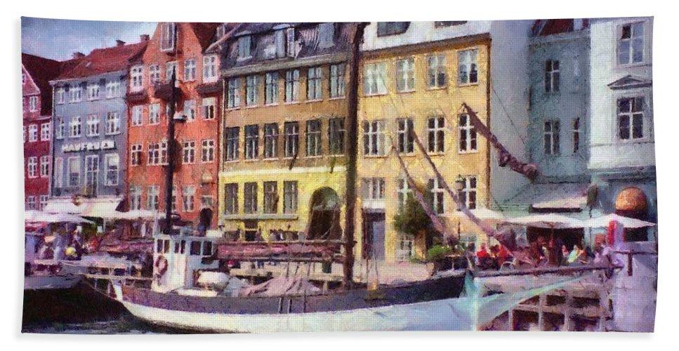 Scandinavia Bath Towel featuring the painting Copenhagen by Jeffrey Kolker