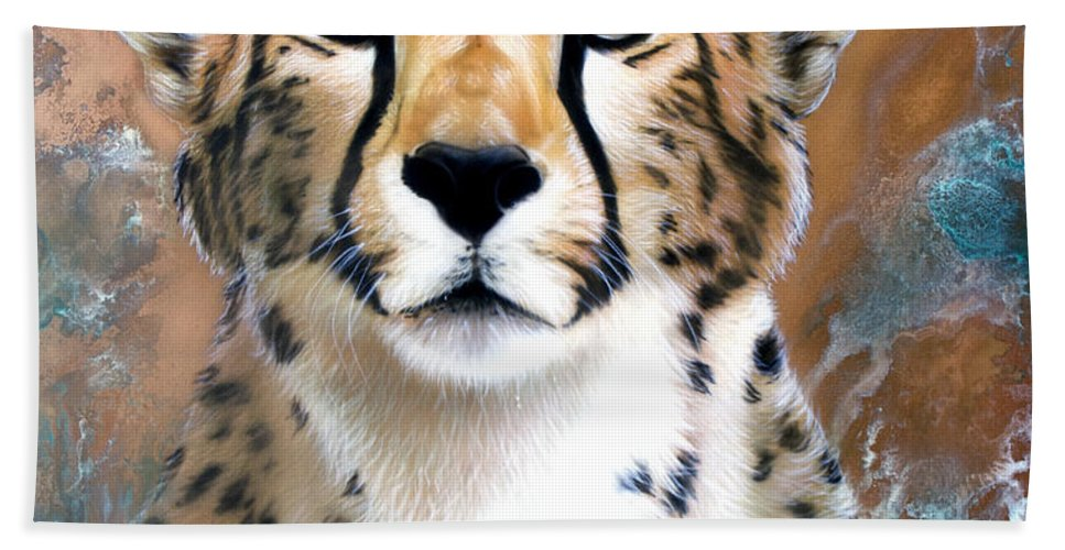 Copper Hand Towel featuring the painting Copper Flash - Cheetah by Sandi Baker