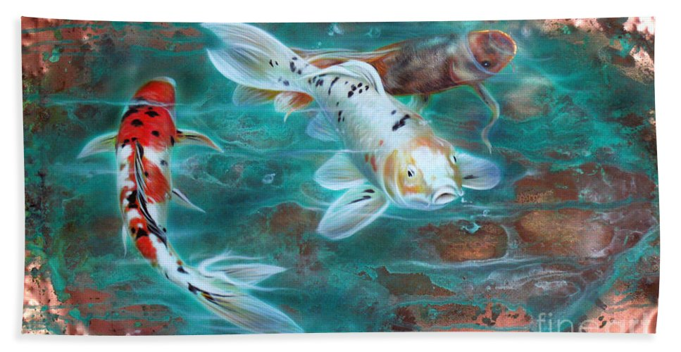 Copper Bath Towel featuring the painting Copper Koi by Sandi Baker