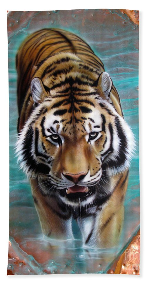 Copper Hand Towel featuring the painting Copper Tiger 3 by Sandi Baker