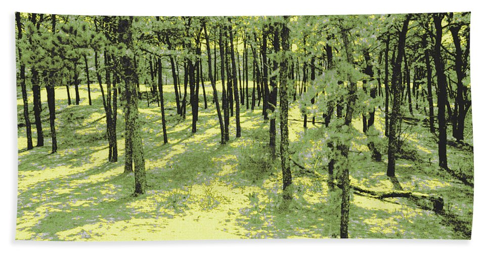 Glowing Hand Towel featuring the photograph Copse Of Trees Sunlight by Tom Wurl