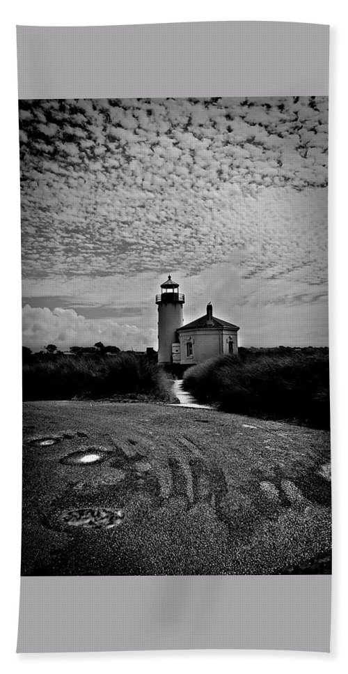 Coquille River Bath Sheet featuring the photograph Coquille River Lighthouse by Melanie Lankford Photography