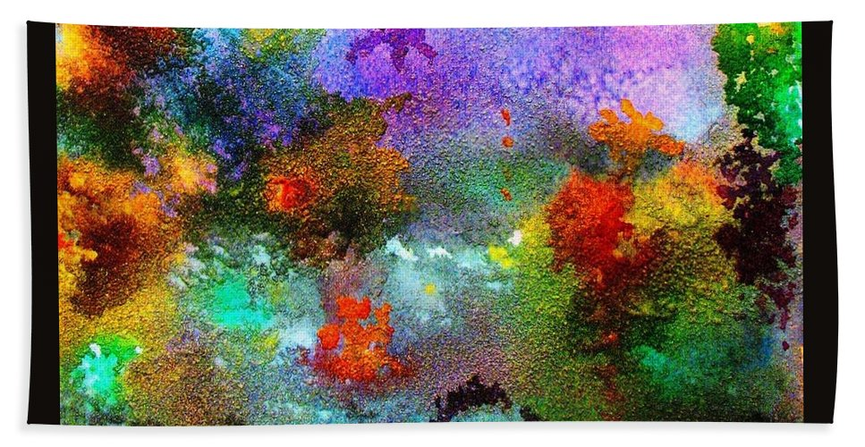 Coral Reef Hand Towel featuring the painting Coral Reef Impression 1 by Hazel Holland