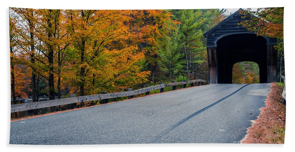 New Hampshire Hand Towel featuring the photograph Corbin Covered Bridge New Hampshire by Edward Fielding