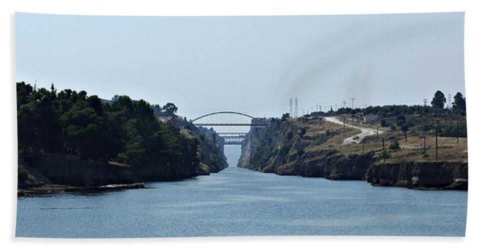 Architecture Hand Towel featuring the photograph Corinth Canal by Zoran Berdjan