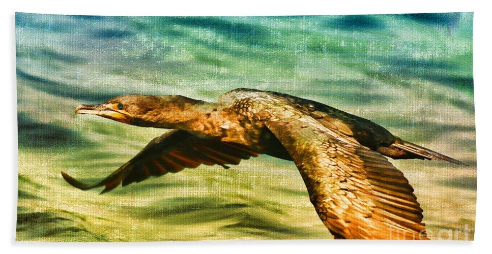 Cormorant Hand Towel featuring the photograph Cormorant On The Move by Deborah Benoit