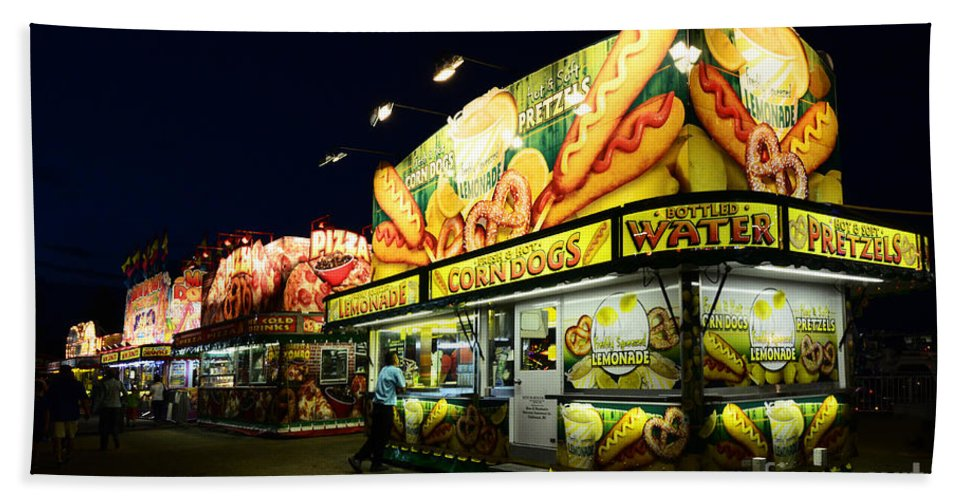 Corn Dogs Hand Towel featuring the photograph Corn Dog Kiosk by Bob Christopher