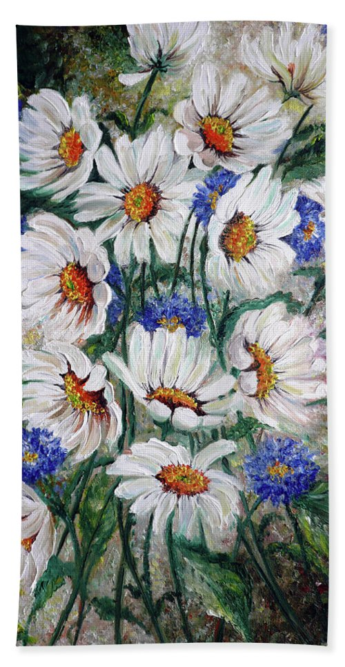 Gallery Wrapped Does Not Need A Frame Bath Sheet featuring the painting Corn Flowers by Karin Dawn Kelshall- Best