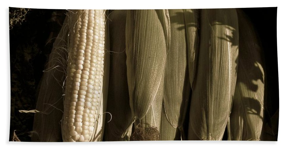 Corn Bath Sheet featuring the photograph Corn On The Cob by Chris Berry