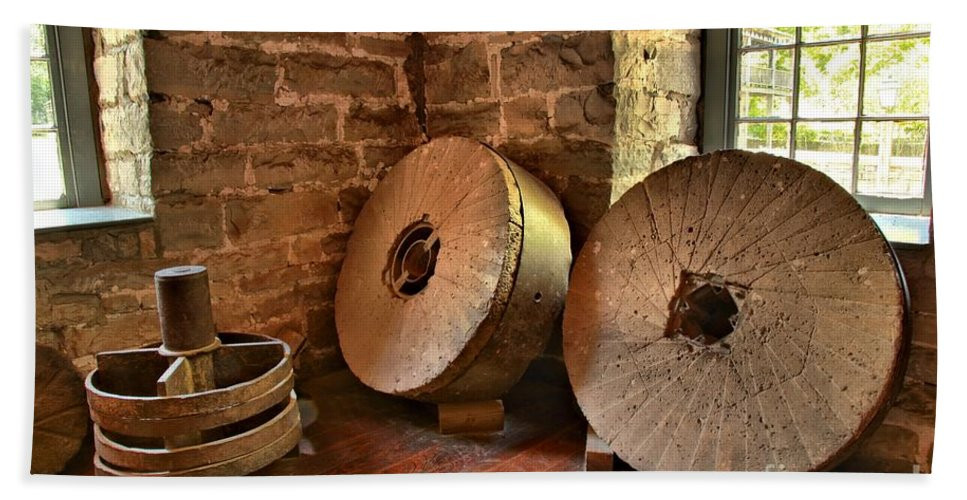 Grist Mill Bath Sheet featuring the photograph Corn Wheels by Adam Jewell