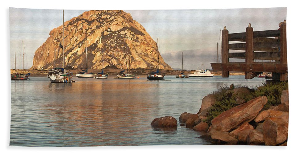 Morro Rock Hand Towel featuring the digital art Corner Harbor by Sharon Foster