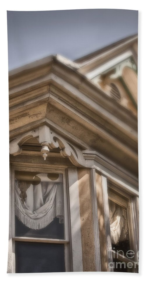 House; Home; Facade; Windows; Peak; Details; Gingerbread; Victorian; Ornate; Architecture; Building; Drapes; Curtains; Corner; Wood; Peeling; Painted; Fringe; Old; Upstairs Hand Towel featuring the photograph Corner Window by Margie Hurwich