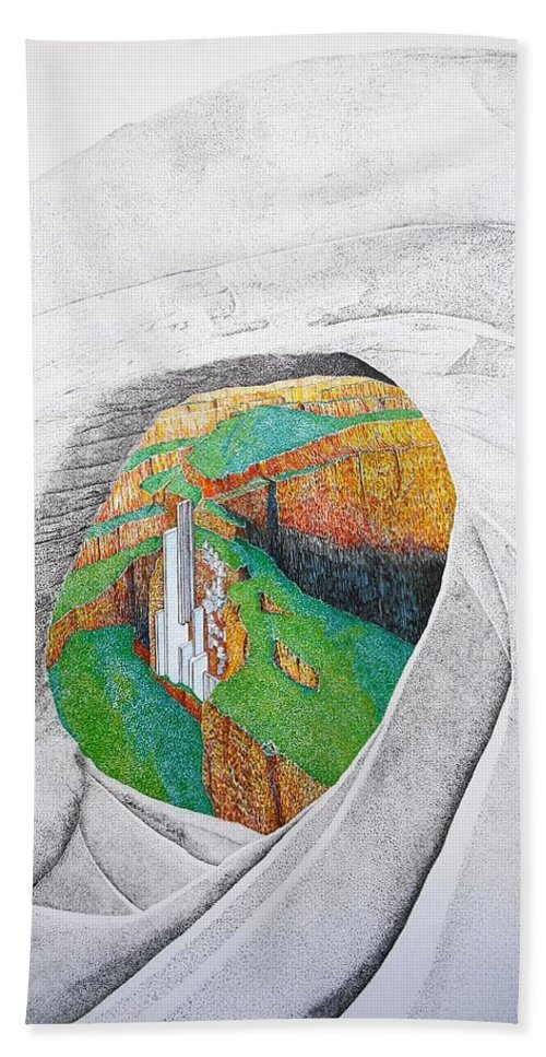 Rocks Bath Towel featuring the painting Cornered Stones by A Robert Malcom